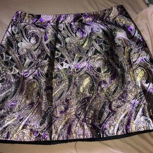 Patterned purple and gold metallic skirt